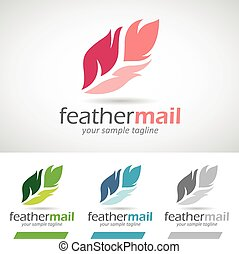 Colorful Cartoon Feather Logo Icon