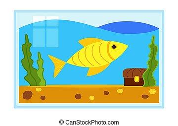 Colorful cartoon fish aquarium