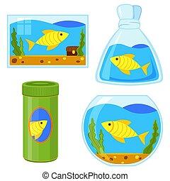 Colorful cartoon fish elements set
