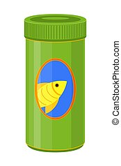 Colorful cartoon fish food jar. Coloring page for adults and...