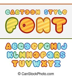 Colorful cartoon font. Cute vector alphabet. Baby