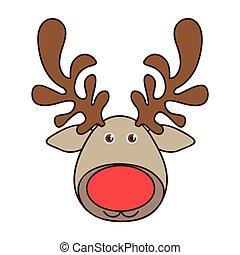 colorful cartoon funny face reindeer animal