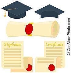 Colorful cartoon graduation set 5 elements