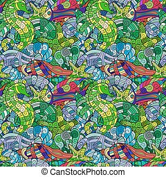 Colorful cartoon hand-drawn doodles. Under water life. Vector