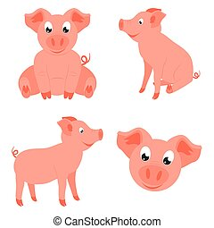Colorful cartoon happy pig set. 2019 year chinese symbol....