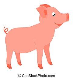 Colorful cartoon happy standing pig side view. 2019 year...