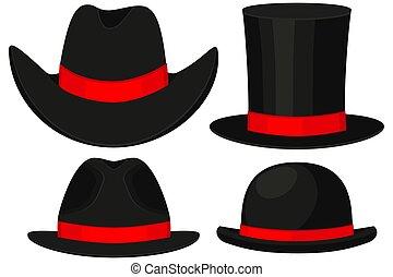 Colorful cartoon hat set 4 element