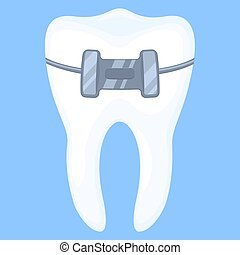 Colorful cartoon healthy tooth in brace. Achieving beautiful...