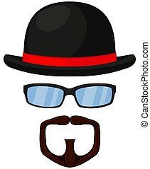 Colorful cartoon hipster avatar