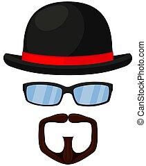 Colorful cartoon hipster avatar