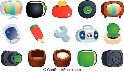 Colorful cartoon icons.