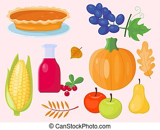 Colorful cartoon icons for thanksgiving day pumpkin holiday vector autumn design leaf season celebration
