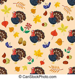 Colorful cartoon icons for thanksgiving day seamless pattern holiday vector turkey design leaf season celebration