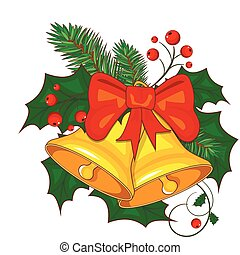 Colorful cartoon illustration of Christmas bells on white background. Vector.