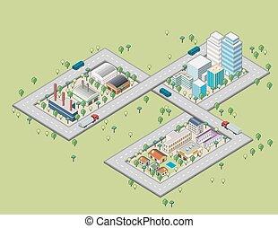 Colorful cartoon isometric city