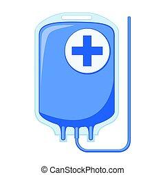 Colorful cartoon IV medicine bag isolated on white...