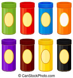Colorful cartoon jar set