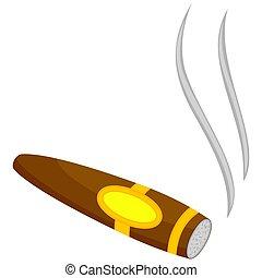 Colorful cartoon lighted cigar