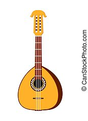Colorful cartoon lute. String musical instrument. Mexico...
