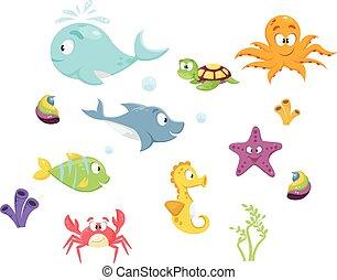 Colorful cartoon marine life