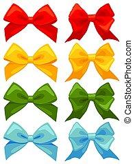 Colorful cartoon multicolor bow set
