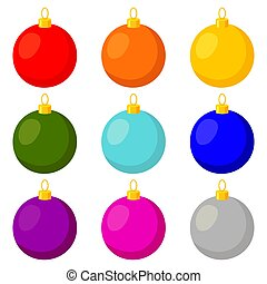 Colorful cartoon multicolor christmas ball set