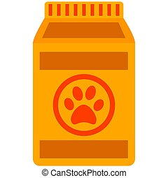 Colorful cartoon pet food bag icon poster