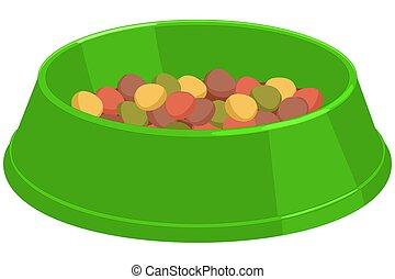 Colorful cartoon pet food bowl.