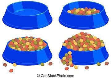 Colorful cartoon pet food bowl set.