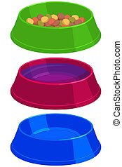 Colorful cartoon pet food empty and full bowl set.