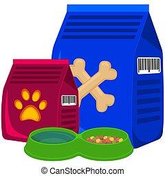 Colorful cartoon pet food poster