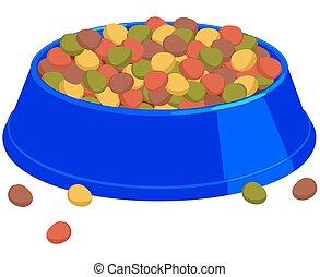 Colorful cartoon pet full food bowl.