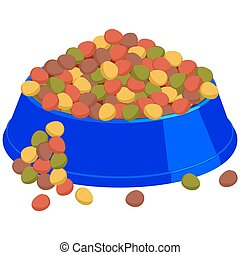 Colorful cartoon pet overfilled food bowl.