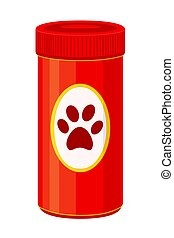Colorful cartoon pet vitamin jar. Coloring page for adults...