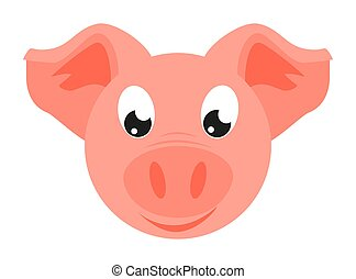 Colorful cartoon pig face. 2019 year chinese symbol. Farm...