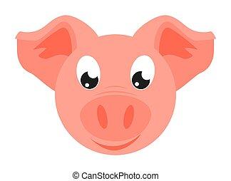 Colorful cartoon pig face
