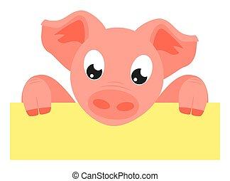 Colorful cartoon pig holding horizontal poster. Copyspace...