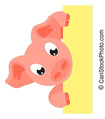 Colorful cartoon pig holding vertical poster. Copyspace with...