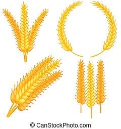 Colorful cartoon ripe wheat ear set