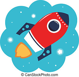 Colorful cartoon Rocket in space isolated on white -...