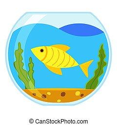 Colorful cartoon round fish aquarium