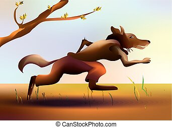 Colorful cartoon running wolf