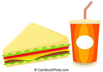 Colorful cartoon sandwich juise fast food set