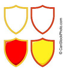 Colorful cartoon shield set