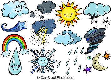 Colorful Cartoon Sky Weather Doodles