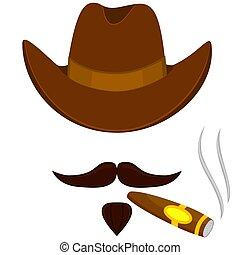 Colorful cartoon smoking cowboy avatar
