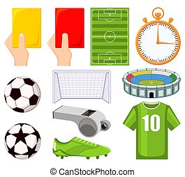 Colorful cartoon soccer championship 11 elements set.
