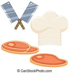 Colorful cartoon steak cooking set