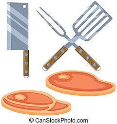 Colorful cartoon steak cooking set
