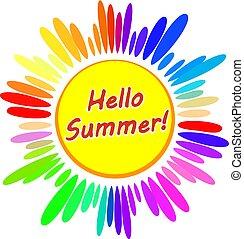 Colorful cartoon Sun symbol with caption Hello Summer!. Vector illustration.